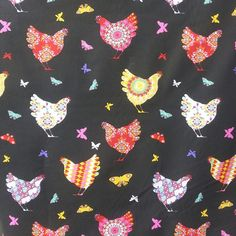 """Colorful French hens on black fabric (62"""" wide) sold by the yard"""