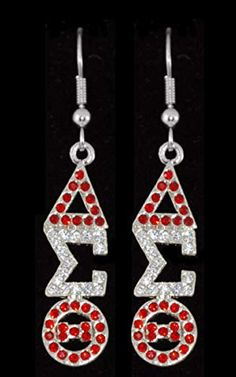 Delta Sigma Theta Sorority Austrian Crystal Jeweled Earrings in Silver Delta Sigma Theta Apparel, Alpha Kappa Alpha Sorority, Geek Jewelry, Jewelry Accessories, Jewelry Ideas, Fashion Jewelry, Ankh Necklace, Wedding Art, Leather Watch Bands