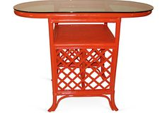 High gloss coral. Chinoiserie Chic...the end tables for the seashell sofa set. (cover the cushions...PLEASE)