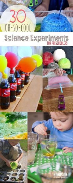 Thirty cool science experiments for preschoolers, a section baking soda experiments and plus a lot of water experiments that preschoolers always find fun!