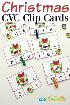 FREE Christmas CVC Clip Cards - kids will have fun identifying the beginning sound in this Christmas literacy activity for preschool, kindergarten, and first grade kids that helps kids learn vowels and their sounds #christmaslearning #christmasprintable #vowels #cvcwords #preschool #kindergarten #firstgrade #kindergartenliteracy #kindergartenactivity
