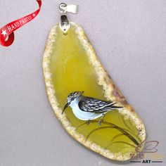 STONE  NECKLACE HAND PAINTED BIRD GEMSTONE PENDANT BEAD ZL808614 #ZL #Pendant