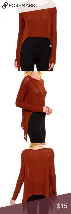 Rust high-low knit Rust high-low long sleeve knit Sweaters Crew & Scoop Necks