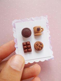 Chocoholic Cupcake Earrings Food Jewelry Miniature Food