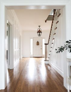 New Front Door - Therma-Tru Fiberglass - Stefana Silber Wall Trim Molding, Staircase Molding, Moldings And Trim, Staircase Design, Stairs Trim, Redo Stairs, Entryway Stairs, Staircase Runner, Hallway Art