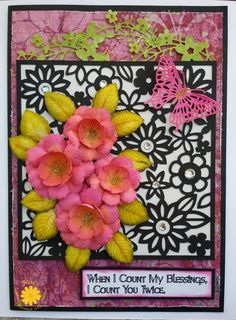 When I Count My Blessings I Count You Twice <3 #Blessings #Card #BotanicalRoses #Emmalou #nidahandmadecards #HC