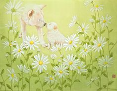 "Youngmi Jeon, ""엄마 향기""(2012)_비단에 채색(painting on silk)"