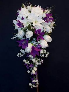 Cadburys Purple Full And Flowing Shower Bouquet In Rich Ivory Lillys