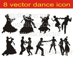 BALLROOM DANCING SILHOUETTES, vector clipart eps, ai, cdr, png, jpg, standard and latin dance, partner dance icon for cut, print, design by ottoflickvector on Etsy