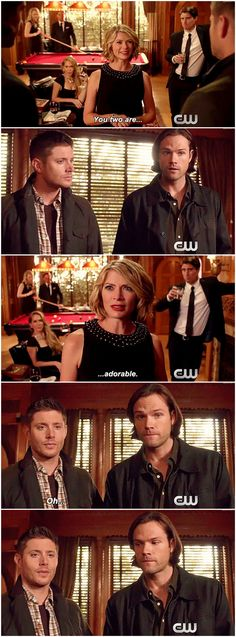 You two are... adorable. Dean's like 'Yes, yes we are.' and Sam's like 'Ah shit, my cougar magnet is working again.' lol [gifset] 10x06 Ask Jeeves #SPN #Dean #Sam