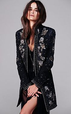 Antik Batik Marani Embellished Coat at Free People Clothing Boutique on Wanelo Look Fashion, High Fashion, Fashion Outfits, Womens Fashion, Fashion Design, Fashion Coat, Gypsy Fashion, Emo Outfits, Look Blazer