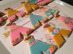 Indian tribal tee pees decorated iced sugar cookies, by Kids to College Cookie Creations. http://www.facebook.com/kidstocollegecookiecreations