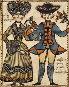Folk art depiction of George and Martha Washington (Abby Aldrich Rockefeller Folk Art Center, the Colonial Williamsburg Foundation)