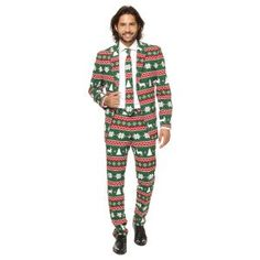 Make a stylish statement this holiday season with this men's Festive Green suit and tie set from OppoSuits. Christmas Suit, Christmas Costumes, Ugly Christmas Sweater, Christmas Trees, Christmas Gifts, Costume Vert, Tall Pants, Green Suit, Hipster