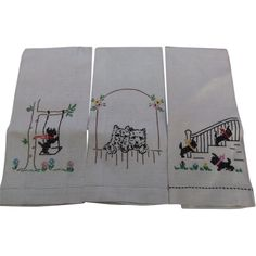 Scotty Dog Tea Hand Towels Linen Embroidered ***ALSO SEE Vintage Jewelry at: http://MyClassicJewelry.com/shop