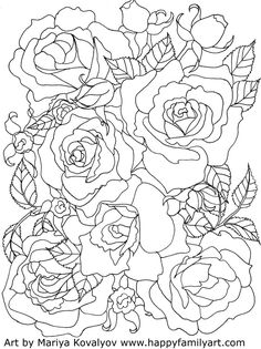 rose coloring pages for adults 1462 Best coloring images | Sketches, Drawing s, American art rose coloring pages for adults