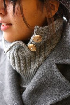 Thermis Cowl by Kris Knits. Uses Thermal Stitch and partially buttons..