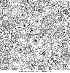 Seamless doodle flower background in vector with doodles, flowers and cucumbers. Circles ethnic floral pattern. Used Clipping mask for easy editing.