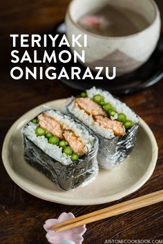 Delicious teriyaki salmon onigirazu with grilled asparagus sandwiched in steamed rice and wrapped in nori. Great quick lunch or snack idea! Salmon Recipes, Asian Recipes, Healthy Recipes, Ethnic Recipes, Salmon And Asparagus, Grilled Asparagus, Salmon Food, Cooking Salmon, Grilled Salmon