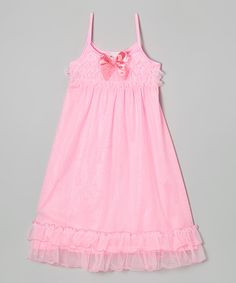 Look at this #zulilyfind! Pink Bow Ruffle Nightgown - Girls by Laura Dare #zulilyfinds