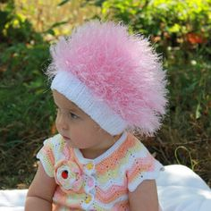 Baby hats / Cabbage Patch Kids Hat / Beanie Wig / Children fuzzy hat / Baby costume / Halloween Costume / Pink