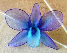 Purple and blue orchid SINGLE flower, nylon flowers, weddings decoration, parties, centerpieces