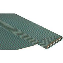 Baumwollstoff Streifen 'Mona', braun/petrol, 4mm