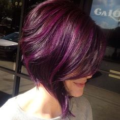 purple hair bob