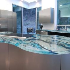 Love these glass counter tops