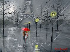 ... PARIS IN THE RAIN ORIGINAL CANVAS EIFFEL TOWER RED UMBRELLA NEW | eBay