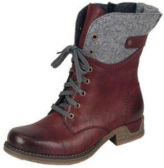 RIEKER LACE UP WINE BOOT - Quarks Shoes