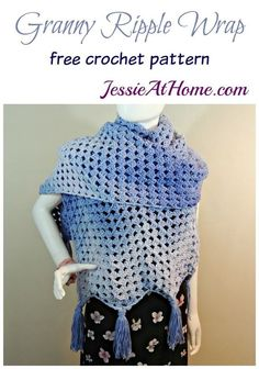"""Granny Ripple Wrap free crochet pattern by Jessie At Home - """"The Granny Ripple Wrap is a large, warm wrap great for cool evenings. Crochet Poncho With Sleeves, Crochet Shawls And Wraps, Crochet Scarves, Crochet Clothes, Crochet Turban, Crochet Ripple, Crochet Lace, Free Crochet, Chevron Crochet"""