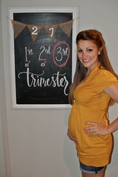 27 weeks pregnant update- baby bump/pregnancy chalkboard tracker; size of a rutabaga... third trimester