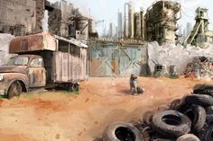 Desert Picture  (2d, illustration, post apocalyptic, dog)