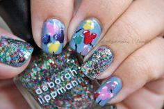 Disney Balloons and Glitter Nails