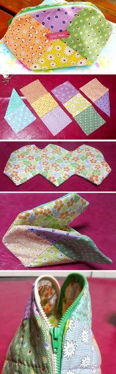 Handbag Patchwork Quilt Tutorial. Instructions for sewing in a photo. http://www.handmadiya.com/2016/04/handbag-patchwork-quilt-tutorial.html