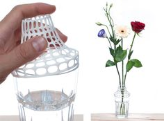"Here's a project that can turn any sort of vessel into just the right vase for the flowers you give to your sweetheart. Clip on vase by aleksandar on Shapeways: The ""Clip on vase"" is an acces… 3d Printing Business, 3d Printing News, 3d Printing Service, Printing Services, Websites Like Etsy, 3d Printable Models, 3d Letters, 3d Prints, 3d Artist"