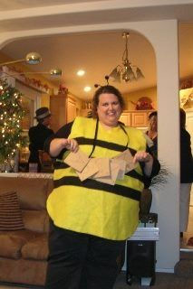 Home made Halloween costume. Spelling Bee. (those are scrabble tiles around my neck).