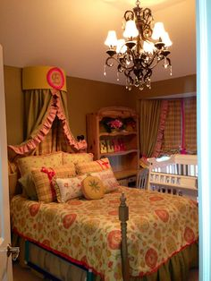 Little girl's bed crown and drapes