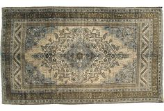 Beautiful, subdued palette. Would look beautiful in a kitchen, study or hallway. Turkish Oushak, 6'5x11 Vintage & Market Finds
