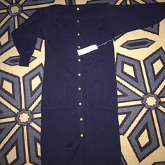 Long sleeved ladies knit 3/4 length dress Deep navy in color 85% Acrylic 15% Nylon. Buttons all the way down the front with pretty golden buttons. High quality tight knit. Can be hand washed and dried flat.  Jo need to dry clean. Vivanti Petites Dresses Long Sleeve