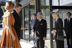 Big welcome: King Willem Alexander and Queen Maxima were greeted by Emperor Akihito and Empress Michako at the Imperial Palace in Tokyo.