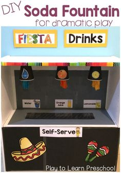 Soda Fountain - Easy how-to guide to make this Drink Machine in your Dramatic Play center.