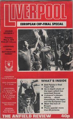 Vintage Football (soccer) Programme - Liverpool v Nottingham Forest, 1977/78 season.