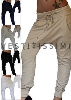 Pantaloni donna sportivi vari colori con zip obliqua, tasche e laccio in vita.