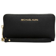 Michael Michael Kors Specchio Jet Set Travel Flat Multifunction Wallet ($108) ❤ liked on Polyvore featuring bags, wallets, accessories, wallet, black, genuine leather bag, cell phone bag, leather wallet, 100 leather wallet and flat bags