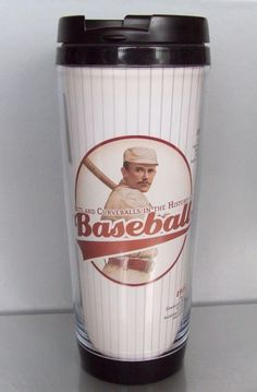 Hits and Curveballs in the History of Baseball Timelines Travel Tumbler Cup Mug   Great for Hot and Cold Beverages   Featuring trivia, nostalgic timelines and vintage ads from Baseball   Size is 12 ounces   Not for dishwasher or microwave use