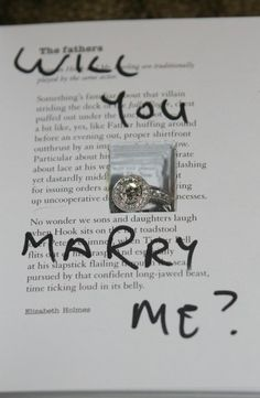 Cute wedding proposal idea, hint don't use a favourite book or if you do by another before hand :)