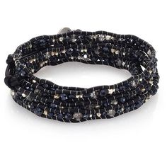 Chan Luu Crystal & Leather Multi-Row Beaded Wrap Bracelet (3,685 MXN) ❤ liked on Polyvore featuring jewelry, bracelets, apparel & accessories, gunmetal, button jewelry, black jewelry, black crystal jewelry, leather wrap bracelet and leather jewelry