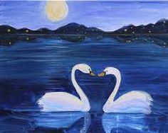 Swans on moonlit lake beginner painting idea. Bird Paintings On Canvas, Paintings I Love, Canvas Art, Easy Paintings, Swan Painting, Summer Painting, Love Canvas, Beginner Painting, Painting Lessons